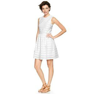GAP Sleeveless Fit and Flare Dress White Striped